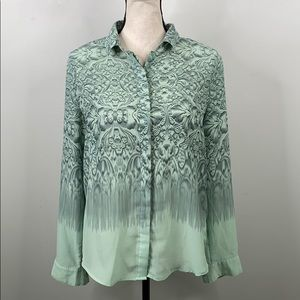 Silence + Noise green button down long sleeve - M